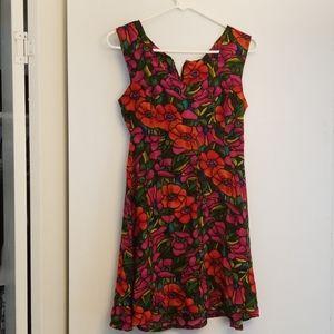 Vintage bright floral short skater dress